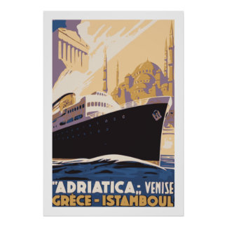 Vintage shipping line ad Venice, Greece, Istanbul Poster