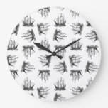 Vintage Ships Ocean Themed Art Pattern Retro Style Large Clock