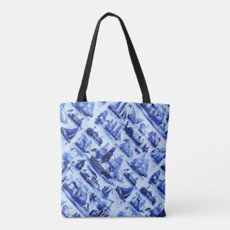 VINTAGE SHIPS,SAILING VESSELS,Navy Blue Tote Bag