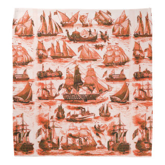 VINTAGE SHIPS,SAILING VESSELS,Red White Bandana