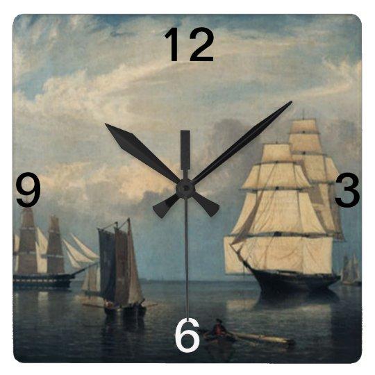 Vintage ships Salem Harbor Square Wall Clock