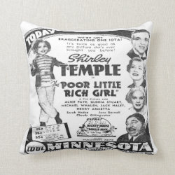 Vintage Shirley Temple Film Advert Throw Pillow