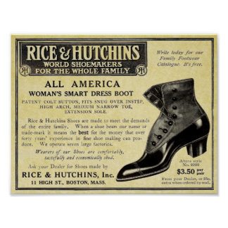 Vintage Shoes Advertisement Victorian Replica Poster