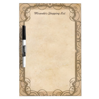 Vintage Shopping List with Your Name Dry-Erase Whiteboard