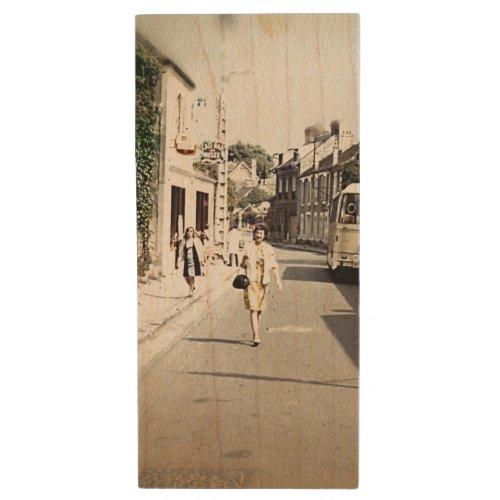 Vintage Shopping on a Paris Street Wood Flash Drive