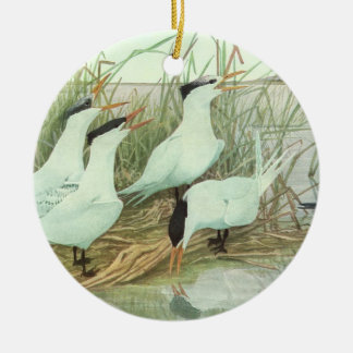 Vintage Shorebirds in a Marsh, Marine Life Birds Double-Sided Ceramic Round Christmas Ornament