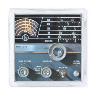 Vintage Short Wave Radio Receiver Silver Finish Lapel Pin