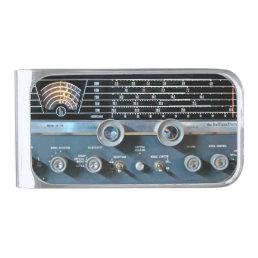 Vintage Short Wave Radio Receiver Silver Finish Money Clip