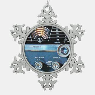 Vintage Short Wave Radio Receiver Snowflake Pewter Christmas Ornament