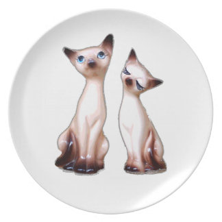 Vintage Siamese cats Dinner Plates