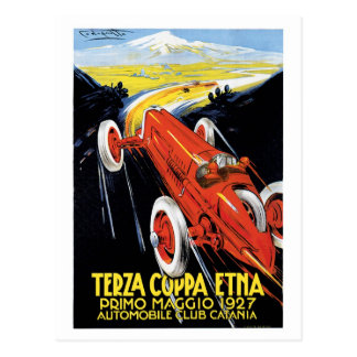 Vintage Sicily 1920s Racing cars Grand Prix Postcard