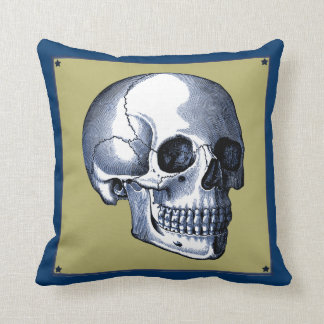 Vintage Side View Blue Skull Pillow