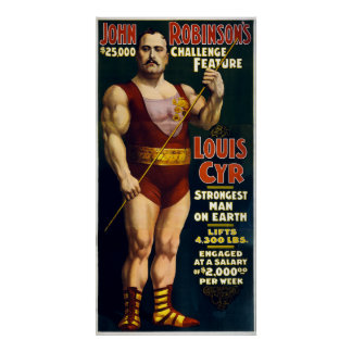 Vintage Sideshow Strongest Man on Earth Louis Cyr Poster