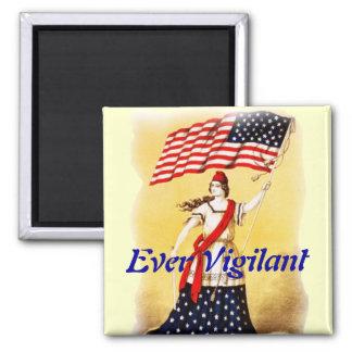 """Vintage """"siempre vigilante"""" patriótico imán cuadrado"""