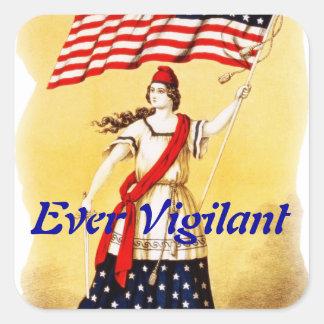 """Vintage """"siempre vigilante"""" patriótico pegatina cuadrada"""