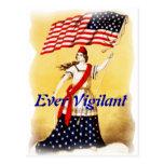 "Vintage ""siempre vigilante"" patriótico tarjeta postal"