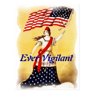 """Vintage """"siempre vigilante"""" patriótico postal"""