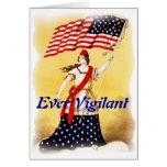 "Vintage ""siempre vigilante"" patriótico tarjeton"