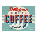 Vintage sign - Fresh Brewed Coffee Post Card