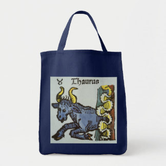 Vintage Signs of the Zodiac, Antique Taurus Bull Tote Bag
