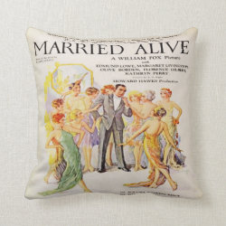 Vintage Silent Film Advert Throw Pillow