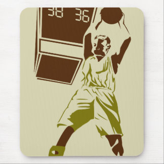 vintage silhouette basketball player design mouse pad