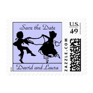Vintage Silhouette Save the Date Postage