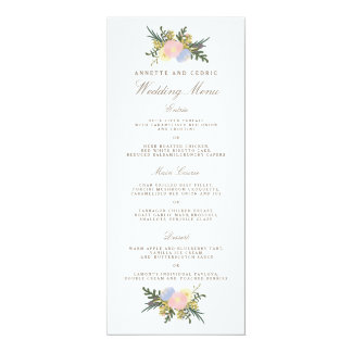 Vintage Silhouette Spring Floral Wedding Menu Card