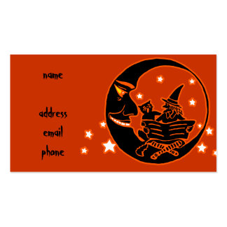 Vintage Silhouette Witch Cat and Moon Business Card Templates