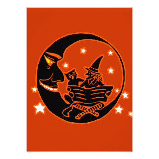 Vintage Silhouette Witch Cat and Moon Personalized Invite