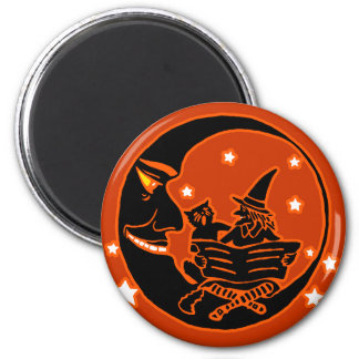 Vintage Silhouette Witch Cat and Moon Fridge Magnet