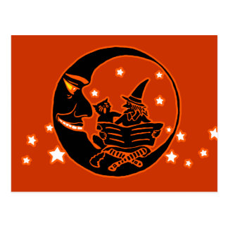 Vintage Silhouette Witch Cat and Moon Postcard
