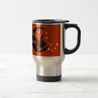 Vintage Silhouette Witch Cat and Moon Travel Mug