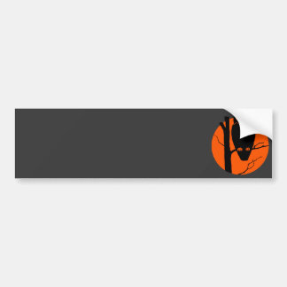 Vintage Silouhette Owl Orange Moon Bumper Sticker