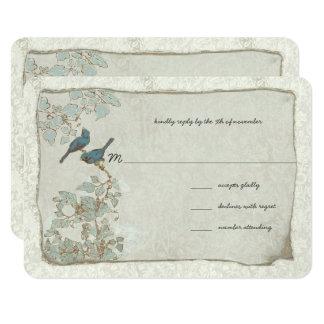 Vintage Silver and Blue Birds Damask Wedding RSVP Card