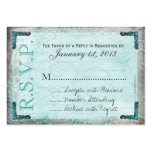 Vintage, Silver and Blue RSVP Cards Large Business Cards (Pack Of 100)