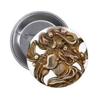 Vintage Silver Art Nouveau Maiden Costume Jewelry Pinback Button