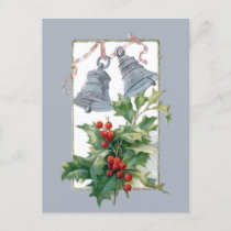 Vintage Silver Bells and Holly Holiday Postcard