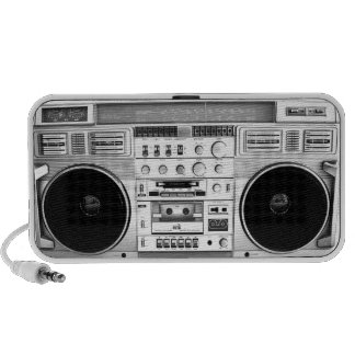 Vintage Silver Boombox Speakers