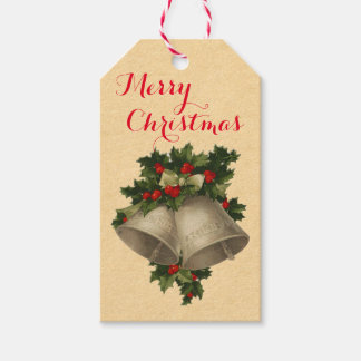 Vintage Silver Christmas Bells Holiday Gift Tags