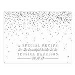 Vintage Silver Confetti Bridal Shower Recipe Cards
