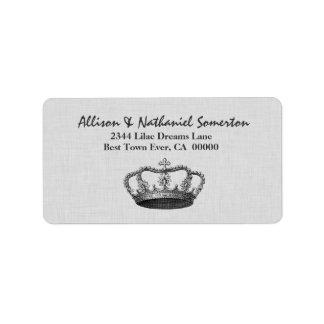 Vintage SILVER Crown Wedding V01 Custom Address Label