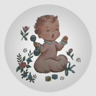 Vintage Silver Cry Baby Shower Sticker