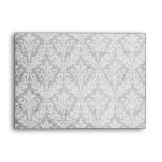 Vintage Silver Damask: Custom Linen Wedding A-7 Envelope