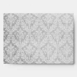 Vintage Silver Damask: Custom Linen Wedding A-7 Envelope