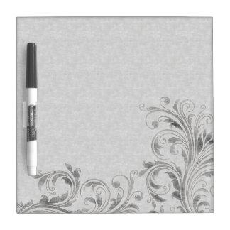 Vintage Silver Floral Damask Dry Erase Board