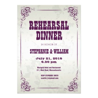 Vintage Silver Floral Rehearsal Dinner Card