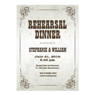 Vintage Silver Floral Rehearsal Dinner Card