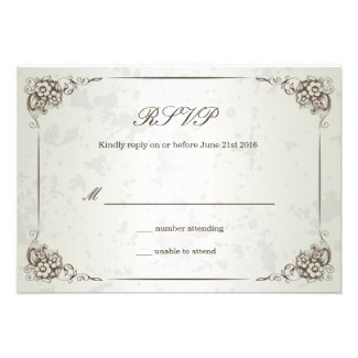 Vintage Silver Floral Wedding RSVP Card