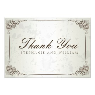 Vintage Silver Floral Wedding Thank You Card